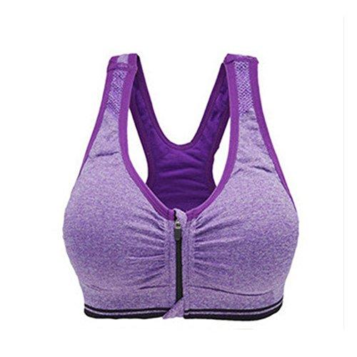 Westeng Sujetador Deportivo Gimnasio Ropa Correr Sin Costuras Yoga Almohadillas Extraíbles Comodidad Frontal Cremallera Mujer Chica Rosa, 1Pcs (M, Purpura)