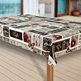 laro Wachstuch-Tischdecke Wachstischdecke Tischwäsche Abwaschbar Meterware Wachstuchdecke G09, Muster:Bistro grau-rot, Größe:100x100 cm