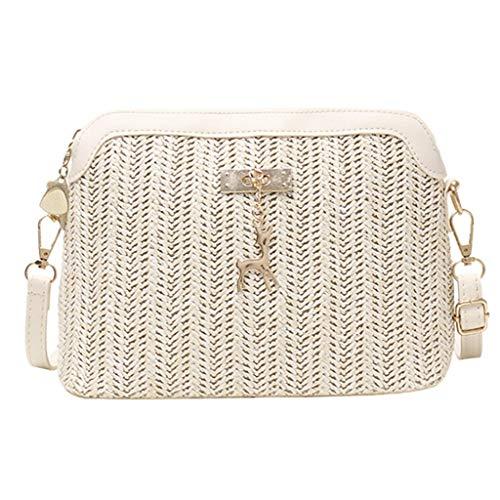 Junjie Mode Frauen Weben Kitz Anhänger Umhängetasche Handtasche Pendant Shoulder Bag Hand Bag Umhängetasche Handytasche Gelb, Weiß