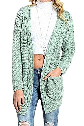 Jusfitsu Damen Lässige Strickmantel Offener Strickjacke Cardigan Lang Longstrickjacke mit Taschen Grün XL