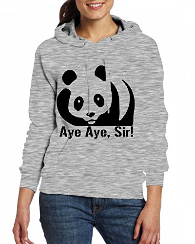 Custom Womens Hooded - Design Aye Aye Sir! Panda Hoodies Grey