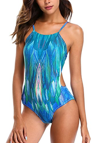 CharmLeaks Damen Badeanzug Cut Out Bikini Rückenfrei High Neck Einteiler Monokini Tropical Serie Grün S (Bikini-badeanzug Cut Out)