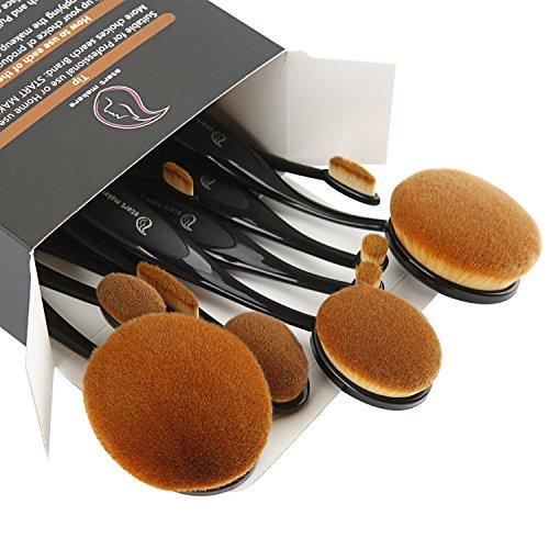 Make Up Pinsel ,Start Makers 10 Stück Premium Oval Make up Pinsel Set Professionelle Foundation Concealer Verblender Pinsel Flüssiges Pulver Creme Kosmetik Pinsel für Gesicht und Augen