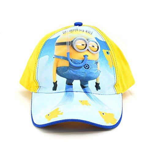 Minions Baseball Kappe für Kinder mit Klettverschluß, 54-56cm Gelb (Minion Hut Mütze)