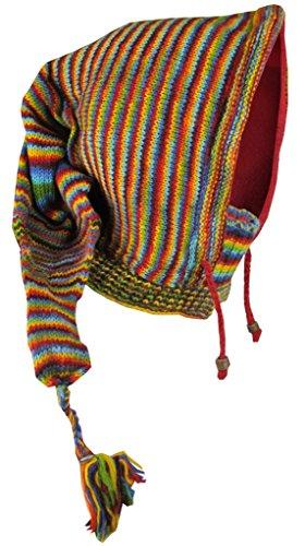 Little kathmandu, berretto di lana foderato in pile, lungo, a punta, con scaldacollo integrato rainbow tie dye taglia unica
