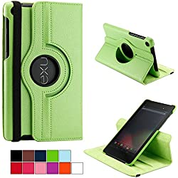 COOVY® Etui pour Google ASUS Google Nexus 7 (2. Generation Model 2013) Coque de Protection Rotation 360° Smart Housse Cover Case Stand Auto Réveil/Sommeil | Vert