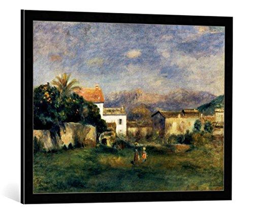 kunst für alle Bild mit Bilder-Rahmen: Pierre Auguste Renoir Vue de Cagnes - dekorativer Kunstdruck, hochwertig gerahmt, 80x60 cm, Schwarz/Kante grau
