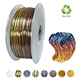 KEHUASHINA Filament Pla en soie pour imprimantes 3D et stylos, multicolore, type arc-en-ciel, bobine 1kg multicolore changeant progressivement - Filament de 1,75 mm de diamètre