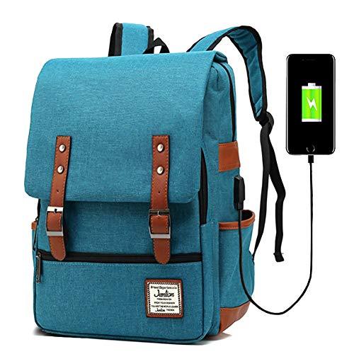 Junlion Unisex Business Laptop Rucksack College Student Schultasche Travel Rucksack Daypack mit USB Ladeanschluss Blau