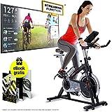 Sportstech Profi Indoor Cycle SX200 - Deutsche Qualitätsmarke -mit Video Events & Multiplayer APP, 22KG Schwungrad, Pulsgurt kompatibel-Speedbike mit Riemenantrieb-Ergometer bis 125Kg, inkl. eBook