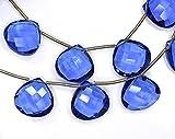 2Stränge AAAA Vivid 14mm 6zusammengehöriges Paar Wunderschöne Tansanit Quarz microfaceted Herz Briolette Perlen