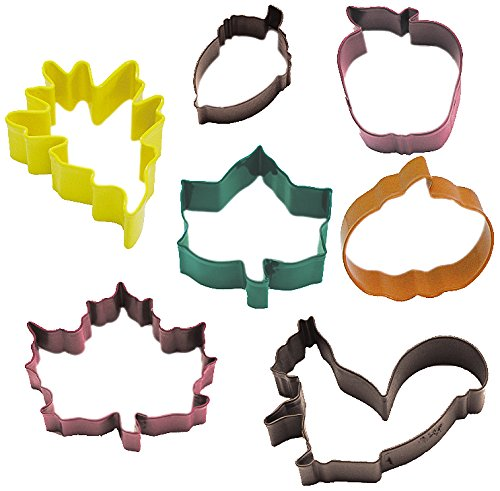 R&M International 1826 Autumn Leaf Cookie Cutters, Acorn, Ivy, Apple, Oak, Pumpkin, Maple, Squirrel, 7-Piece Set Ivy Leaf Cutter