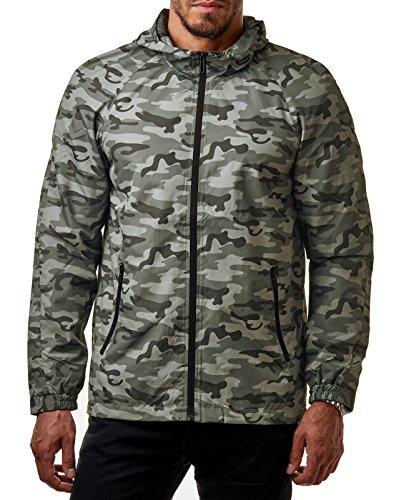 Only & Sons Herren Windbreaker Camouflage Übergangs Jacke Regenjacke Kapuze Camo Normex Camouflage Grey