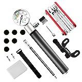SANLINKEE mini bici pompa bici Tool set, mini pompa per bicicletta con manometro con ago, 16in 1kit di riparazione pneumatici e Glueless patch kit