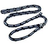 Dinoleine Retrieverleine, Längenverstellbar, Inkl. Standard Messing-Karabiner, Natürliche Baumwolle, Maße: 130-220 cm, Marine/Babyblau, 161419