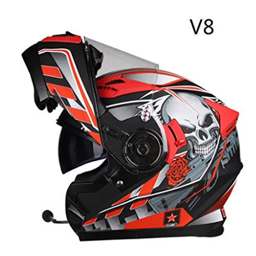 doppelseitiger Helm Kollisionshelm Motorradvollhelm Moped Roller enthüllt Helm mit Bluetooth,J-L=55~59cm ()