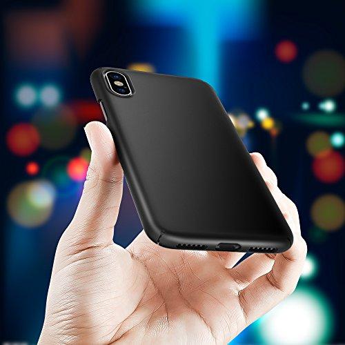 iPhone X Hülle Case, [Unterstützt kabelloses Laden (Qi)] EasyAcc Hard PC Ultradünn und Leicht Dünn, Schlankes Anti-Fingerabdruck, Anti-Scratch Cover mit Mattem Finish auf der Rückseite, Schutzhülle fü Schwarz