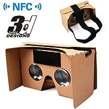 Gafas de realidad virtual, realidad virtual Google Cardboard V2.0VR Gafas 3d de cartón para 3.5hasta 6.0pulgadas de pantalla universal Smatphone inteligentes (iPhone y Android Teléfono Móvil) con NFC y diadema