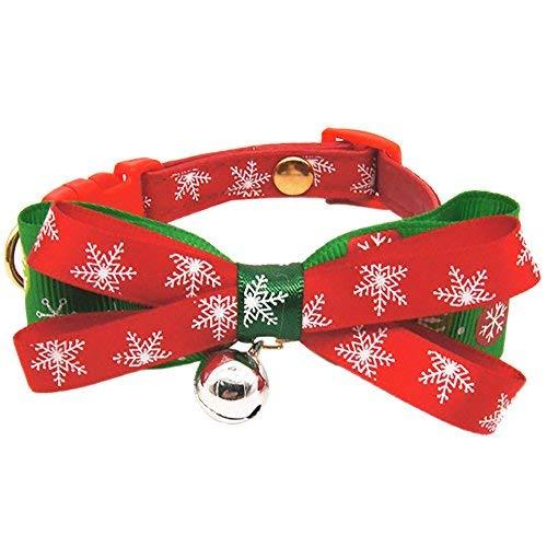 Kostüm Roten Ball Großen - Menran Frisbee Ball Hundespielzeug Weihnachten Kostüm Halsband mit große Schleife Weiche Verstellbare Halskette Halsband in Rot & Grün Geschenke für Haustier Hunde Katzen Cartoon Cosplay deko