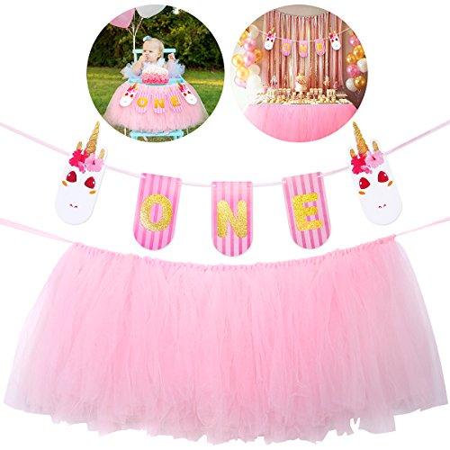Hochstuhl Geburtstag Banner 1. (Unomor erste Geburtstag Einhorn Banner, Baby Tutu Rock ein Jahr alt Geburtstag hängen Bunting feiern Party Supplies)