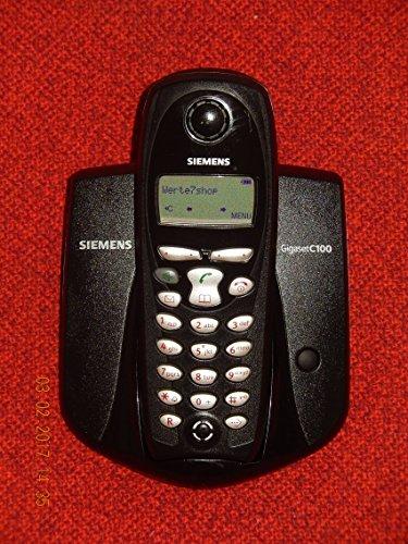 Siemens Gigaset C100 Basis mit C1 Mobilteil und Netzteil, ISDN tauglich in Schwarz im geöffneten OVP