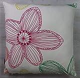 VonKnaub Kissenhülle Kissenbezug Dekokissen Sofakissen Blume Geschenk Idee 100% Baumwolle 45/45 cm Weiß/Bunt