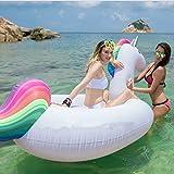 Aufblasbares Einhorn Schwimmtier Luftmatratze, Mingmei Riesen Einhorn Pool Aufblasbar PVC Pool Float Schwimmbad Spielzeug für 2-3 Personen, Aufblasbare Pool Einhorn Schwimmen für Erwachsene Kinder