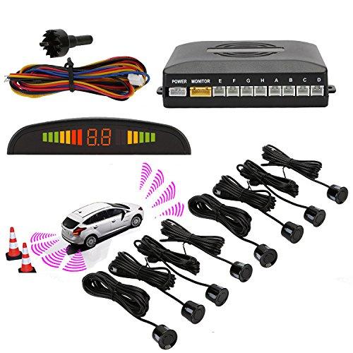 Sensori parcheggio, osan, kit auto led display + suono allarme radar retromarcia antigelo impermeabile + 8 sensori nero