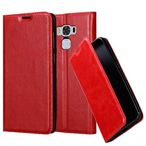 Cadorabo Hülle für ASUS ZenFone 3 MAX (5,5 Zoll) - Hülle in Apfel ROT – Handyhülle mit Magnetverschluss, Standfunktion und Kartenfach - Case Cover Schutzhülle Etui Tasche Book Klapp Style