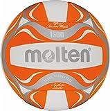 Freizeitball, weiches Synthetik-Leder, maschinengenäht - Farbe: Orange/Weiß/Silber, Größe: 5