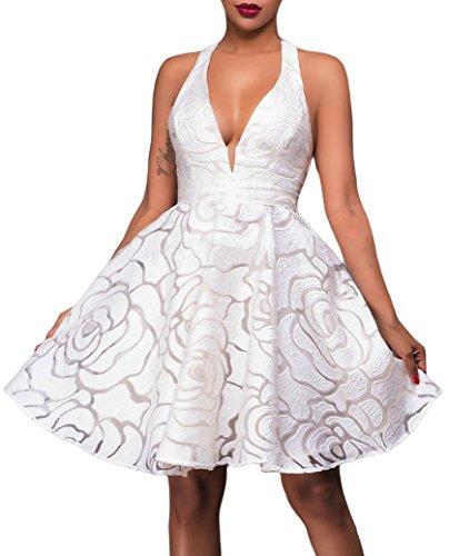 Vestito cerimonia donna svasato spalle scoperte abito skater elegante Bianco