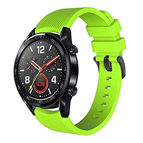 WAOTIER für Huawei Watch GT Armband mit 3er Schutzfolien Silikon Armband mit Metall Verschluss Glättender Silikon Armband für Huawei Watch GT Classic Wasserdichter Atmungsaktiver Armband (Grün)