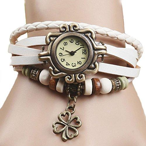 Demarkt Retro Vintage Klee Design Damen Armbanduhr Armreif Uhr Anhänger Spangenuhr Quarzuhren (Weiß) - 2