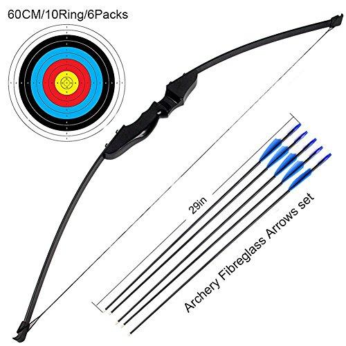 Outdoor Recurve Bogen und Pfeil Set Bogenschießen Training Spielzeug (40LB, 5 × Pfeile, 6 × Zielflächen)