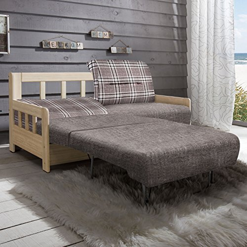 Schlafsofa Campuso braun natur Stoff Sofa Couch Massiv Holz Schlafcouch Bettfunktion