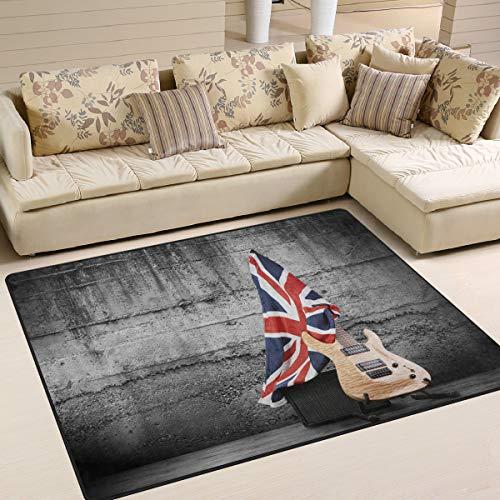 Use7 Teppich für elektrische Gitarre, Motiv Union Jack mit britischer Flagge, Textil, Multi, 203cm x 147.3cm(7 x 5 feet) (Baumwoll-teppich Britische)