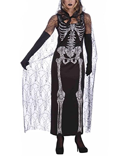 DuuoZy Damen Skeleton Kleid Umhang Cosplay Kostüm Tag der Toten Fancy (Fancy Showgirl Dress Kostüme)