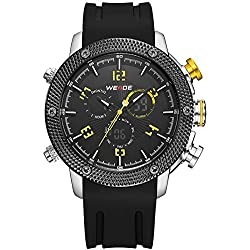 Alienwork Analogue-Digital Watch XXL Oversized LCD Wristwatch Multi-function Polyurethane yellow black OS.WH-5206J-05