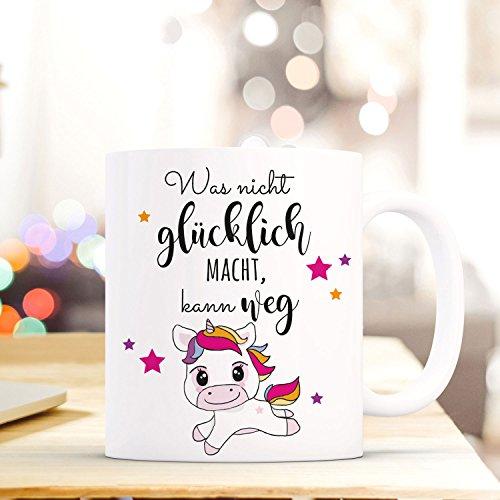 ilka parey wandtattoo-welt® Tasse Becher Kaffeetasse Kaffeebecher mit Einhorn Sterne & Spruch Was nicht glücklich macht, kann weg ts467 (Glücklichen Welt)