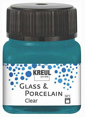 Kreul 16216 - Glass & Porcelain Clear, transparente Glas- und Porzellanmalfarbe auf Wasserbasis, schnelltrocknend, glasklar, 20 ml im Glas, türkis