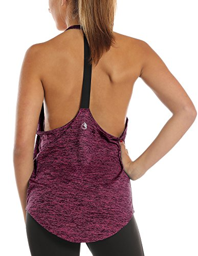 icyzone Damen Zumba Shirt Sport Top Lang - Rückenfrei Workout Gym Tanktop Yoga Oberteile (M, Red Bud) -