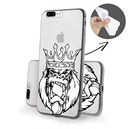 finoo | iPhone 8 Weiche flexible Silikon-Handy-Hülle | Transparente TPU Cover Schale mit Motiv | Tasche Case Etui mit Ultra Slim Rundum-schutz | Gameboy Gorilla King SW