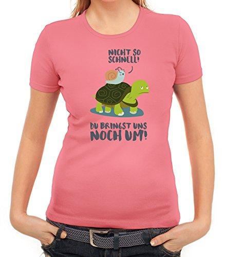 Turtle Damen T-Shirt mit Turbo Schildkröte Motiv von ShirtStreet Rosa