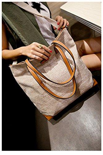 Frauen Segeltuch Schulter Beutel Bag Handtasche Grau