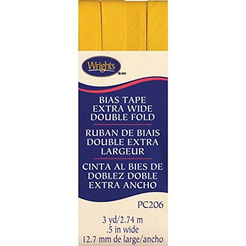 Wrights Double Fold Bias Tape, 1/2 by 3-Yard, Yellow by Wright Products -