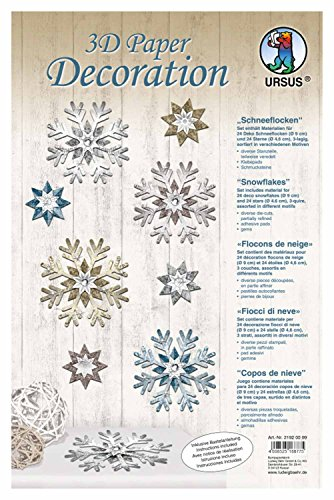 Ursus 21920099 - 3D Paper Decoration Schneeflocke, 9 cm, blau/grau -