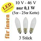 netSells® * LED Topkerze / Riffelkerze / Spitzschaftkerze * für Schwibbogen u. Lichterketten * 10-46 V 0,1 W * f. innen * 3er Set * matt / frosted