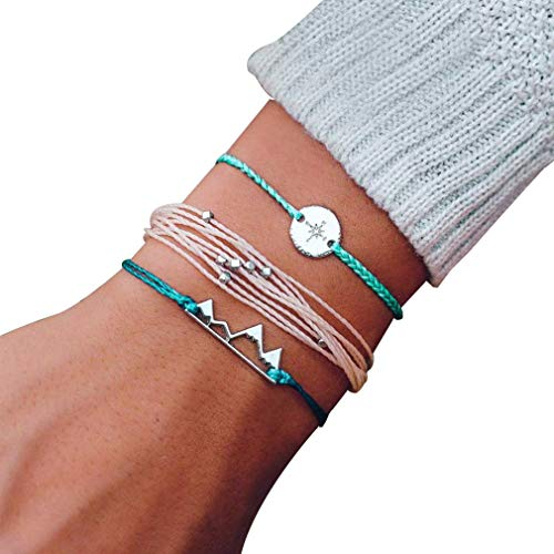 Junkai Damen Armband Handgewebtes Armband Gebirge Kompass Armband Verstellbar Schmuck Geschenk (Mehrschichtig