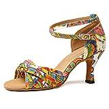 YKXLM Nuevas Mujeres Zapatos de Baile de Tango Salón de Baile Latino Zapatos de Baile de Cuero para Mujeres Salsa Zapatos de Mujer,ESYCL255-7.5,Amarillo,EU 38