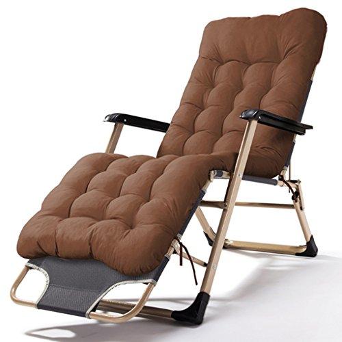 Vintage Patio Stühle (XUEYAN Patio faltende Stühle, die mit Kissen für schwere Leute-nullstrand-Strand-Rasen-kampierender tragbarer Stuhl des Schwerkraft-freien Raumes, 200kg stützen (Farbe : Braun))
